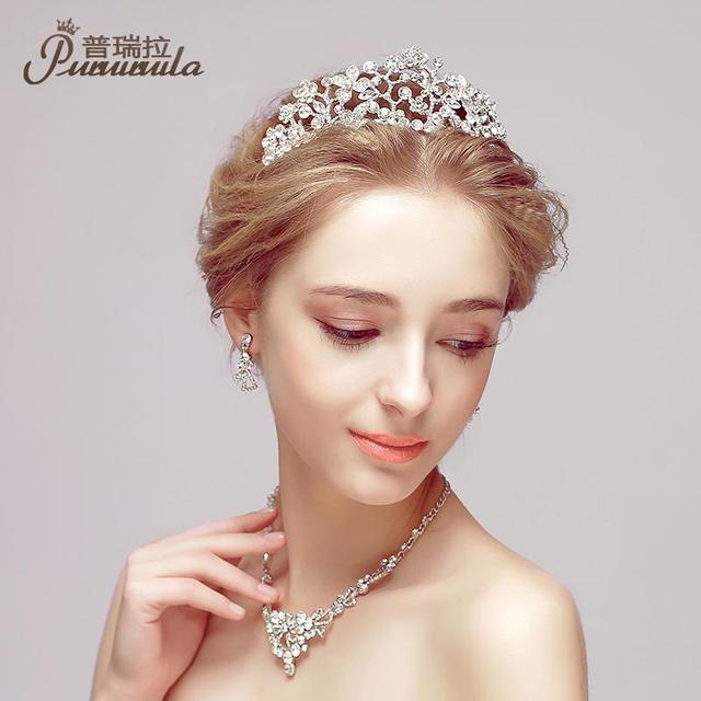PUROILA 3pcs/set Necklace stud Earring hair Set Romantic Fine Jewelry Wedding Full Crystal Tiaras Crown Hollow Design Bridal