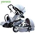 Роскошная детская коляска 3 в 1 с автомобильным сиденьем высокий пейзаж складная детская коляска для новорожденных дорожная система детска...