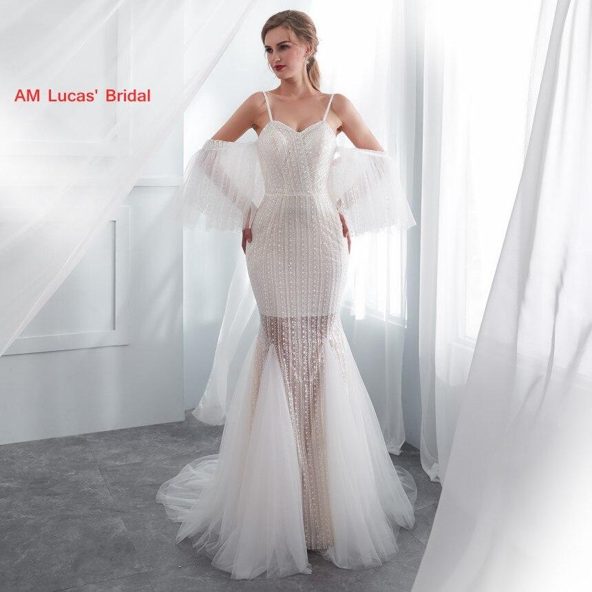 Long Sexy Mermaid Wedding Dresses 2019 New Sweep Train