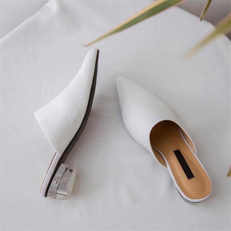 MSSTOR Leather White Ladies Slippers Elegant Summer Outside Pointed Toe Crystal Heels Strange Style High Heels Women Slippers