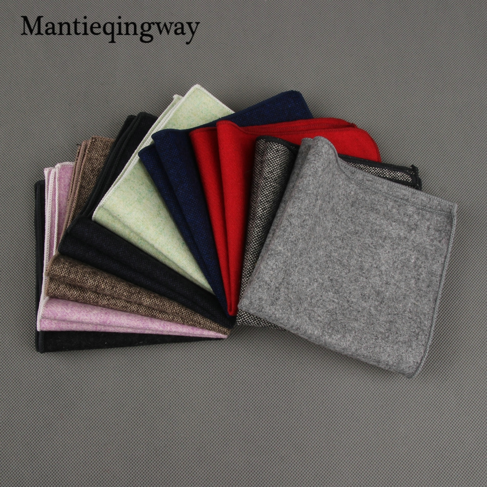 Mantieqingway Brand Wool 23*23cm Solid Color Handkerchief For Men Formal Wool Pocket Square Mens Chest Towel Suit Business Hanky
