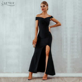 Adyce 2019 Summer Women Bandage Dress Sexy Black Long Maxi Club Dress Vestidos Elegant Off Shoulder Celebrity Runway Party Dress