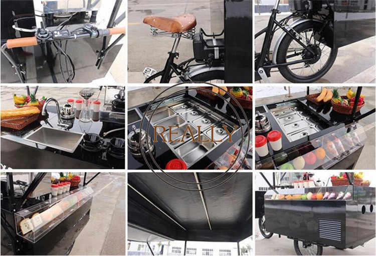 電気/ペダルカスタマイズビールトライク高速食品自転車アイスクリーム三輪車コーヒーバイクキオスク