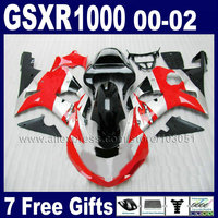 ABS завод мотоциклов обтекатели комплект для SUZUKI GSXR1000 K2 2000 2001 GSX R 1000 2002 GSXR 1000 00 01 02 красное Серебро Наборы обтекателей