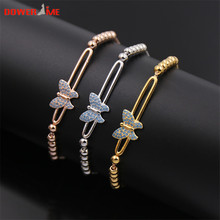 Dower me Exquisite Stainless Steel hree-dimensional butterfly with small blue Natural stone Bracelets for women Free Shipping