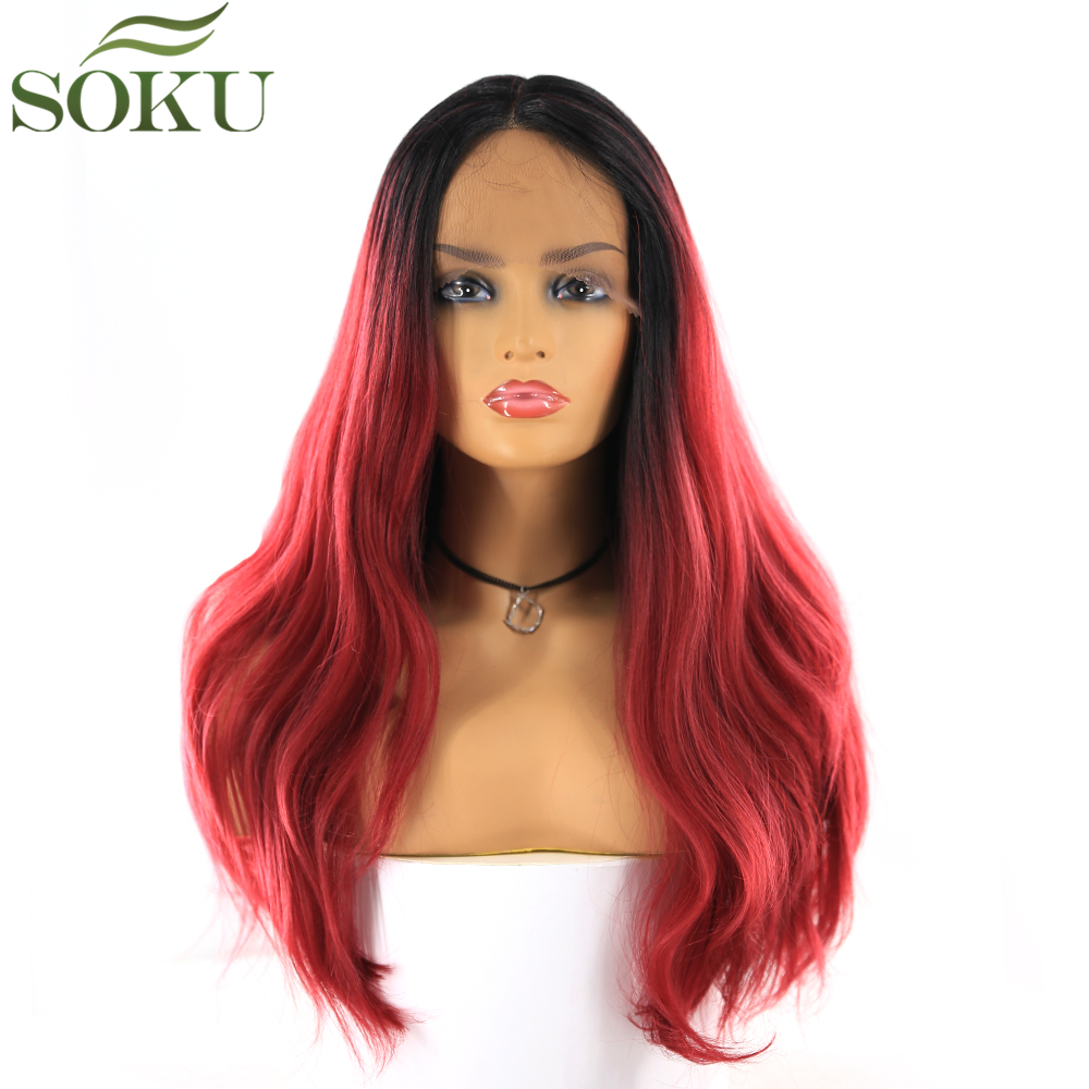 SOKU Synthetic Lace Front Wigs 16 Inch Long Straight Middle Part Wig Dark Root Burg Color 150% Density Wig For Women