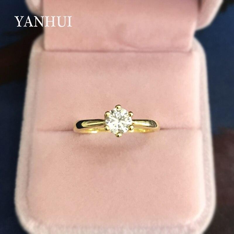 100% QualitäT Yanhui Original 925 Massiv Silber Ringe Gold Farbe Solitaire Cz Diamant Band Hochzeit Schmuck Verlobungsringe Für Frauen Lr040j