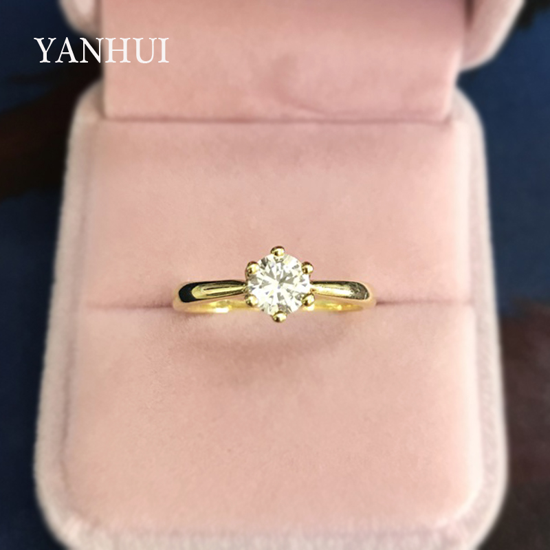 YANHUI Original 925 Solid Silver Rings Gold Color Solitaire CZ Diamant Band Wedding Jewelry Engagement Rings For Women LR040J
