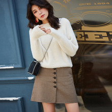 цена на Autumn Short Skirt Women Plaid Skirt Kawaii High Waist Micro Mini Skirts Coffee Cute Houndstooth A Line Skirt Vintage British za