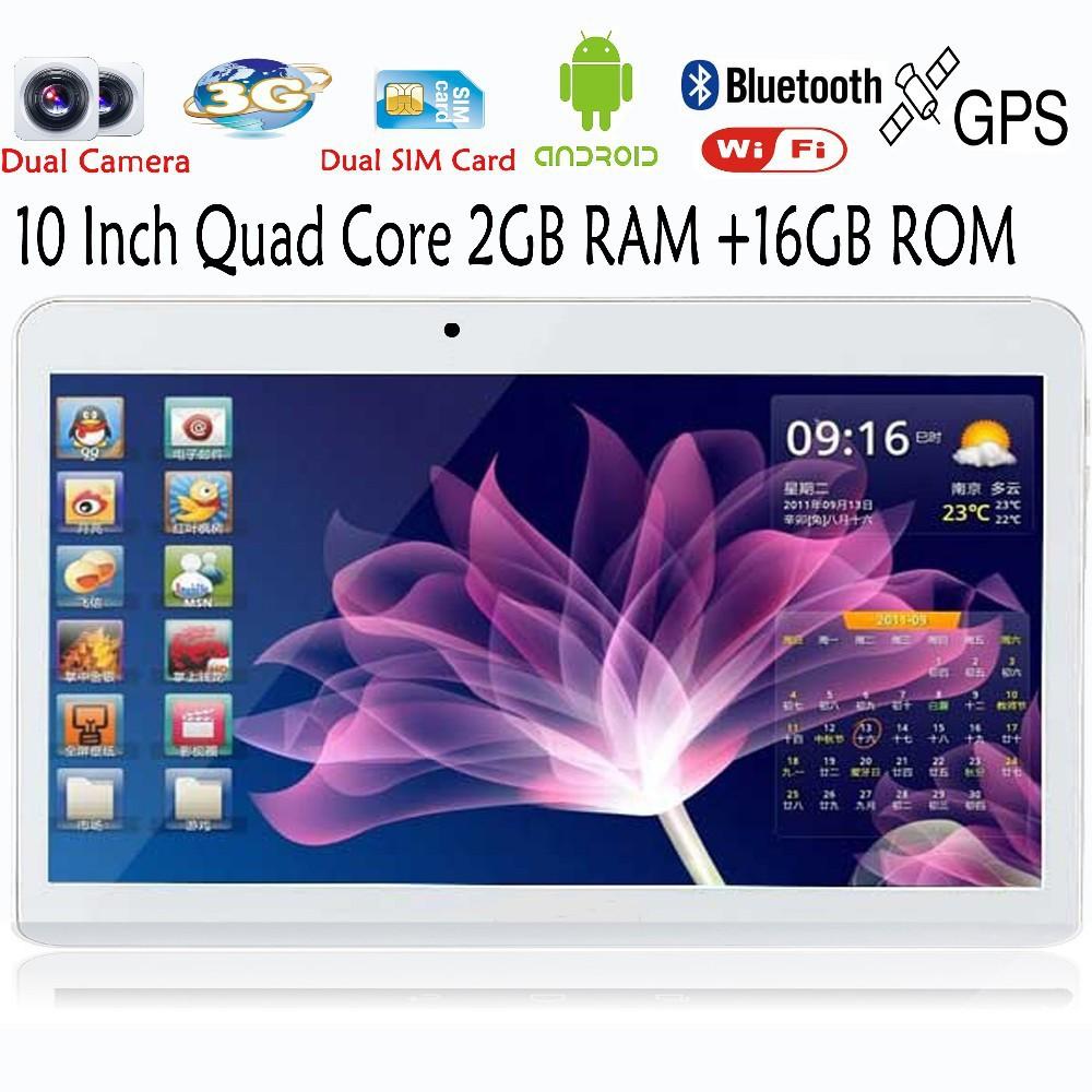 Prix pour 10 Pouce Intégré 3G Appel Téléphonique Android Quad Core Tablet pc Android 4.4 2 GB RAM 16 GB ROM WiFi GPS FM Bluetooth 2G + 16G Comprimés Pc