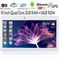10 Pulgadas Construido En 3G Llamada de Teléfono Android Quad Core Tablet pc Android 4.4 2 GB RAM 16 GB ROM WiFi GPS Bluetooth FM 2G + 16G Tablets Pc