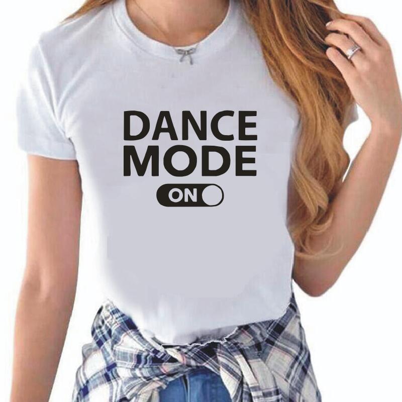 T-shirt Mode danse sur lettres imprimées pour femmes, estival et décontracté, Hipster Harajuku