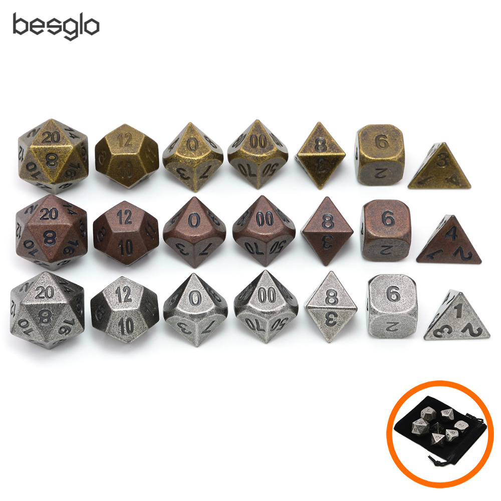 Polyhedral Metal Dice Set Of 7 With Dice Bag For RPG DnD MTG Board Games Ancient Copper, Ancient Gold, Ancient Silver