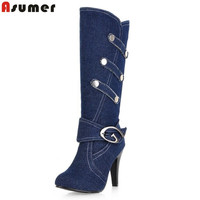 ASUMER Large Size Women Spring Autumn Denim Knee High Boots High Heels Buckle Strap Metal Decoration