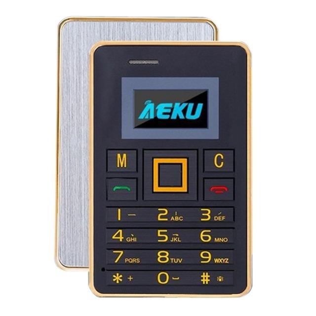 AEKU K5 Tarjeta Mini Teléfono 0.96 pulgadas OLED Desbloqueado Teclado QWERTY del Teléfono Móvil MP3 FM Bluetooth 2G Red GSM 320 mAh de La Batería