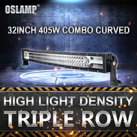 Oslamp 405W 32 Curved LED Light Bar for Truck SUV Car Pickup Combo Beam Driving Work Light Bar Triple Row 6000K Offroad Led Bar