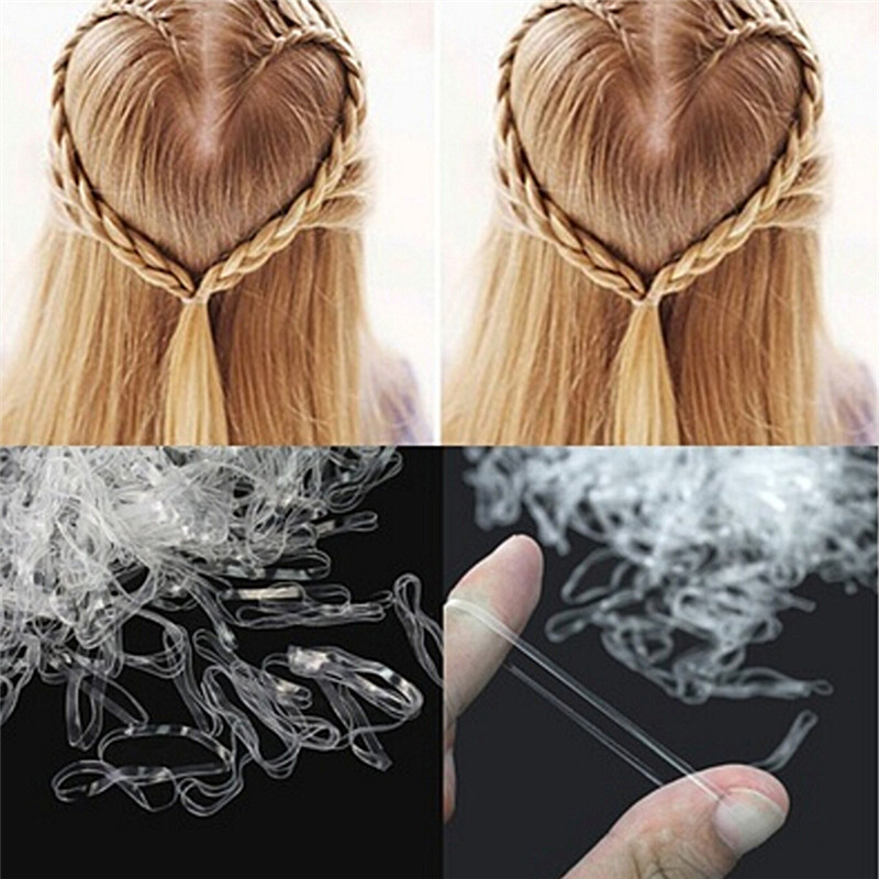 200/500PCS /bag Hair Rubber <font><b>Cord</b></font> Rubber Band Transparent White <font><b>2mm</b></font> Clear Ponytail Holder <font><b>Elastic</b></font> Rubber image