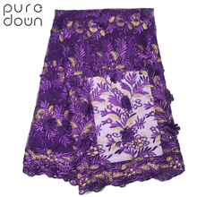 Puredown 3D Flowers Latest African Cord Lace Fabrics High Quality 2019 Nigerian Fabric for Wedding