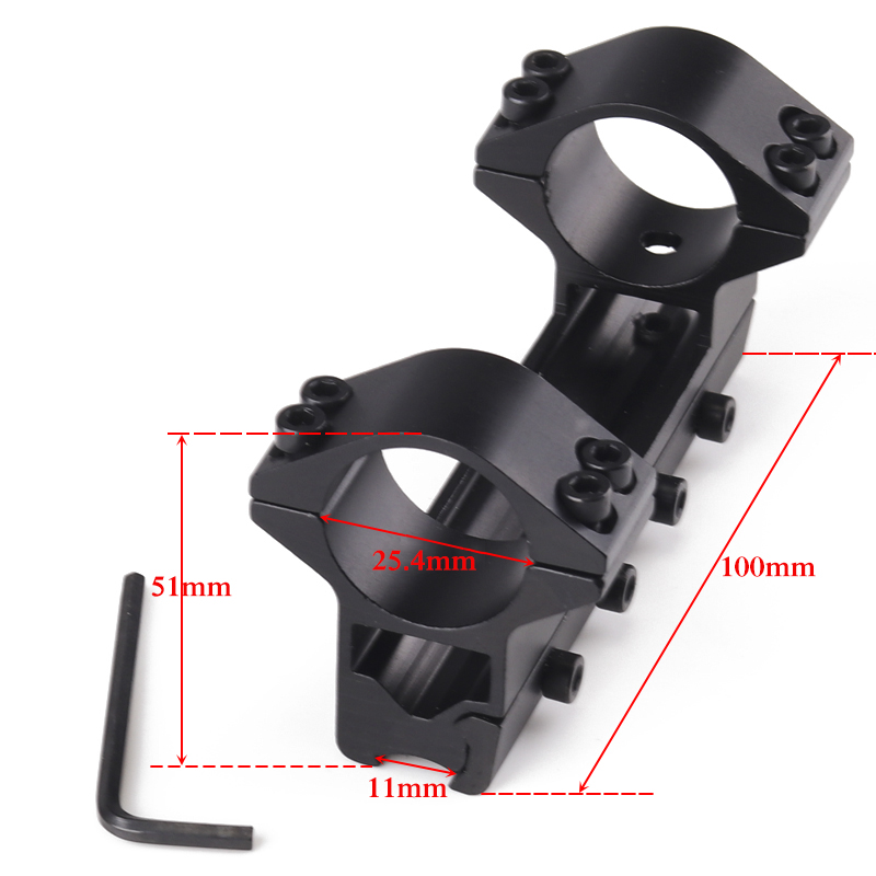 Hunting 25.4mm Double Scope Rings Higher Mount For Dovetail Ring 11mm Weaver Rail Hunting Riflescope Caza Accessories