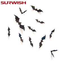 SURWISH Halloween Decoration 12Pcs 3D Spooky Bat Wall Glass Sticker  Halloween Party Bar Decals Set(