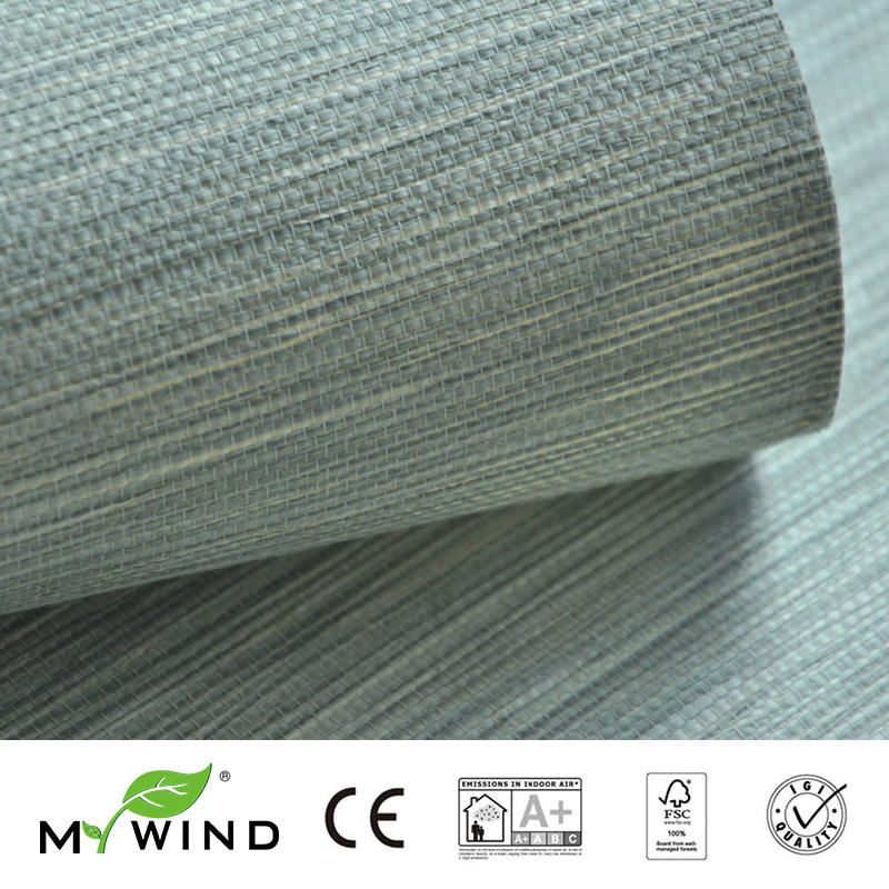 2019 MY WIND Green Grasscloth Wallpapers 3D Paper Weave Design Wallpaper In Roll Luxury Natural Material Papier Wandbekleding