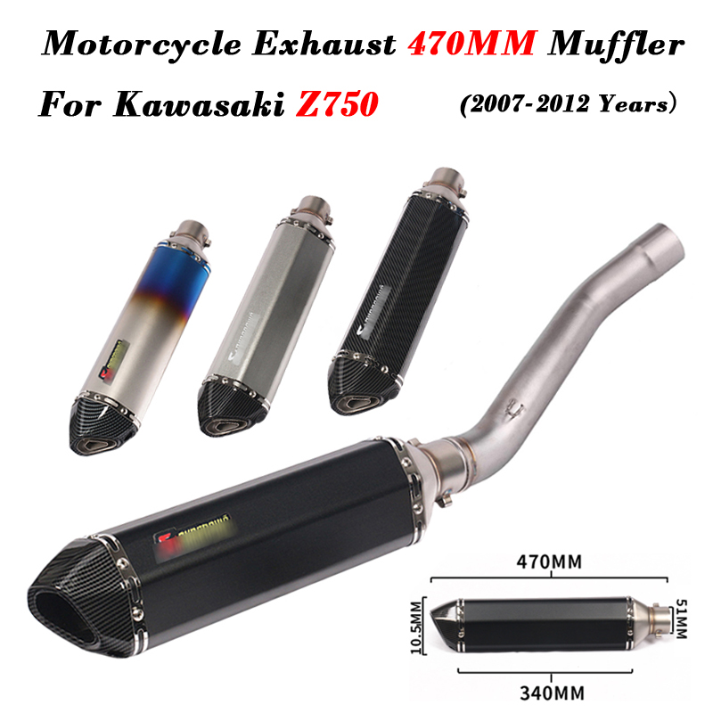 Slip on For <font><b>Kawasaki</b></font> <font><b>Z750</b></font> 2007-2012 Motorcycle <font><b>Exhaust</b></font> Muffler Pipe Modified With Middle Connection Link Pipe Full System image