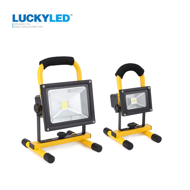 LUCKYLED 10W 20W Floodlight Uppladdningsbar LED Flood Light Lamp Portabel Utomhus Spotlight Camping Arbetsljus med DC Billaddare