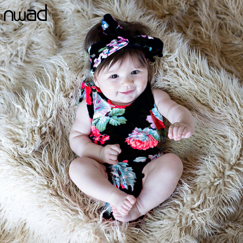 NWAD baby girl romper jumpsuit With Headband cotton sleeveless jumpsuit sunsuit outfits newborn baby clothes Tassel Floral FF416