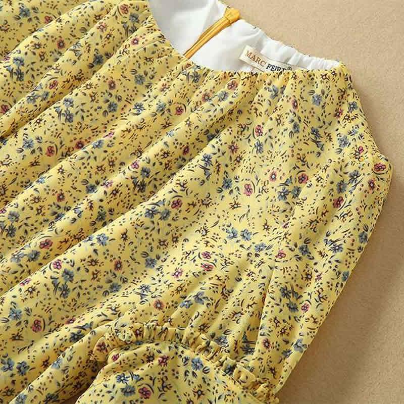 Imprimé Floral femmes longue robe mode o-cou à manches courtes a-ligne robes F6208 - 5