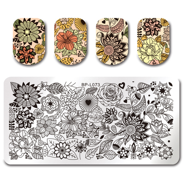 BORN PRETTY Rectangle Round Stamp Template Floral Girl Insect Dragonfly Pattern Plate Manicure Nail Art Stamping Image Plate