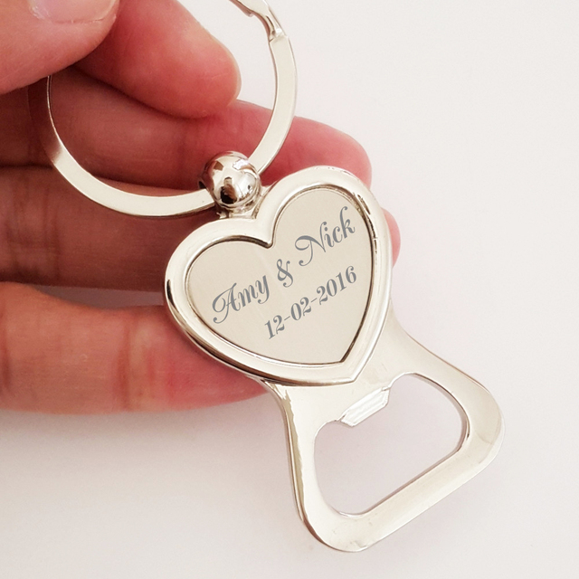 50x free engraved personalised wedding favour heart keyring