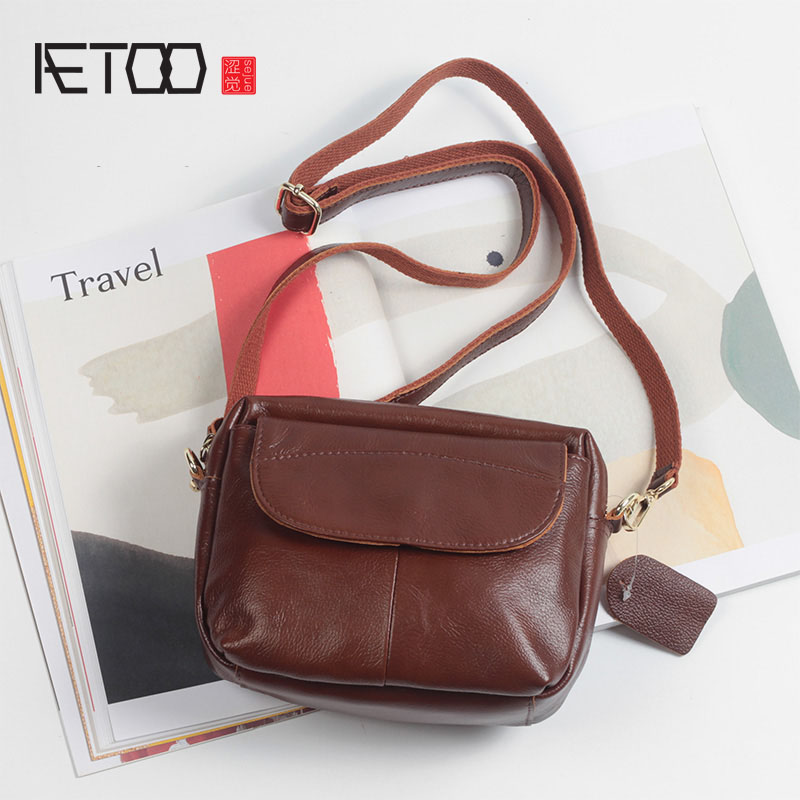AETOO Leather retro small square head of the first layer of leather wallet tide package outside the single shoulder oblique mini retro small square korean version of the printing bag graffiti shape shoulder mini oblique cross female package