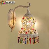 European garden Bohemia crystal wall lamp bedroom dresser bedside bathroom cabinet mirror lamp