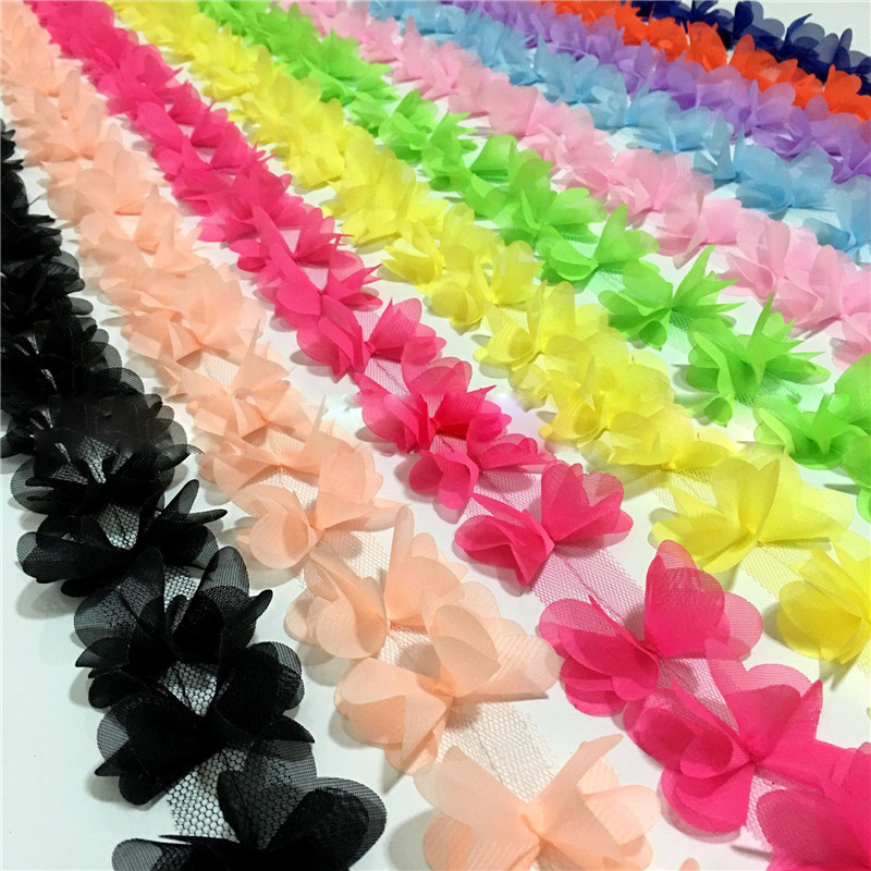 1 yard Multicolor Beautiful Chiffon three-dimensional lace flowers lace trim lace fabric decoration diy clothes accessories