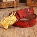 Дракон мужские ремни роскошь коровьей натуральной кожи 2017 новый горячий дизайнер ремень красный высокое качество мода повседневная золотой пряжкой cintos