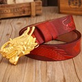 Dragon mens belts luxury cowhide genuine leather 2017 new hot designer strap red high quality fashion casual gold buckle cintos