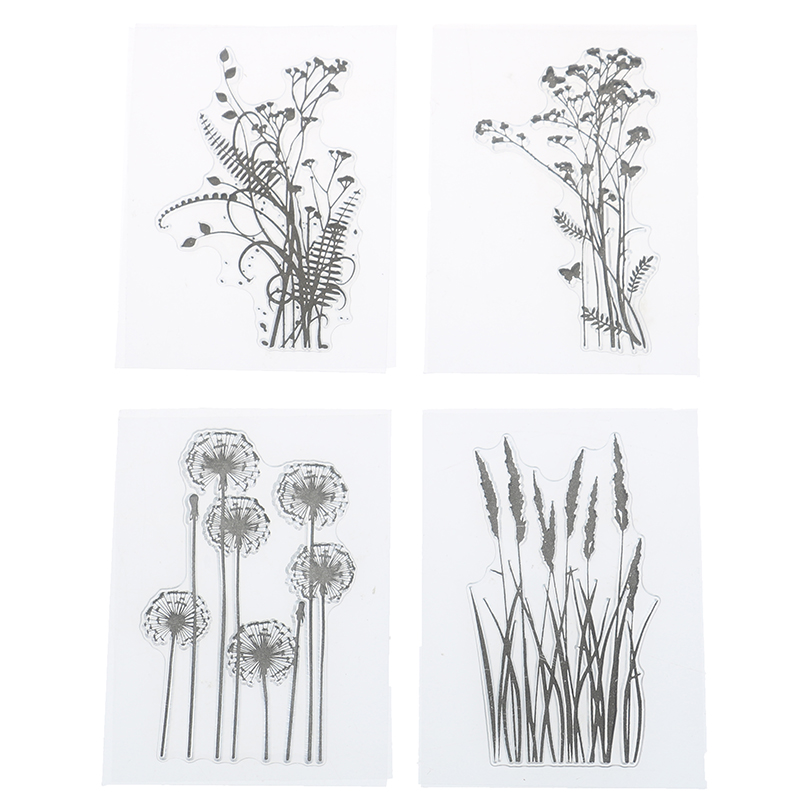 Silicone Flower Grass Transparent Silicone Clear Stamps Inkpad Stamper Accessories For Scrapbooking Photo Album Painting DIY Toy