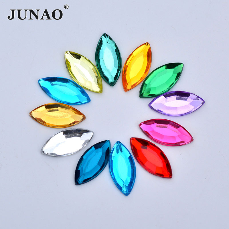 JUNAO 7*15mm 12*25mm Mix Color Crystals Flatback Acrylic Rhinestones Horse Eye Clear AB Crystal Stones Non Hotfix Strass for DIY