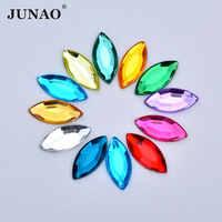 JUNAO 7*15mm Colorful Acrylic Crystal Rhinestone Applique Horse Eye Strass Crystal Flatback Gems Non Sewn Stones for DIY Crafts
