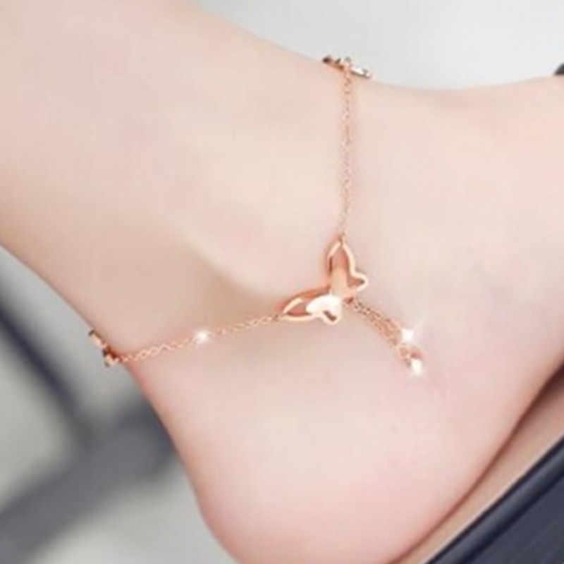 Kore versiyonu basit ve ayarlanabilir uzunluk kelebek kadın halhal bilezik yarım çizmeler kadın