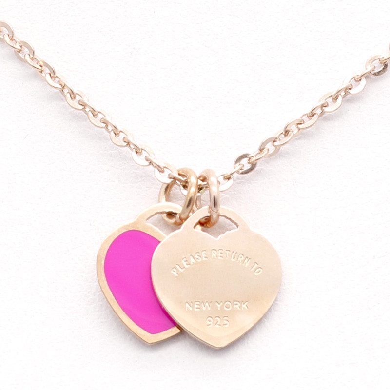 Fashion Luxury Famous Brand Love Necklace New Women Necklace Gold Double Peach Heart Pendant Necklace Collar