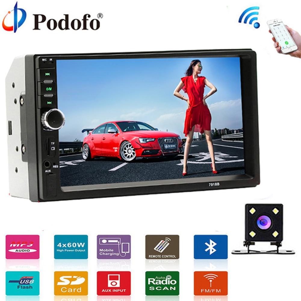 Podofo Car Stereo 12v car radio tuner 2 Din 7 Touch Bluetooth Multimedia auto audio autoradio MP5 USB Support Rear View Camera