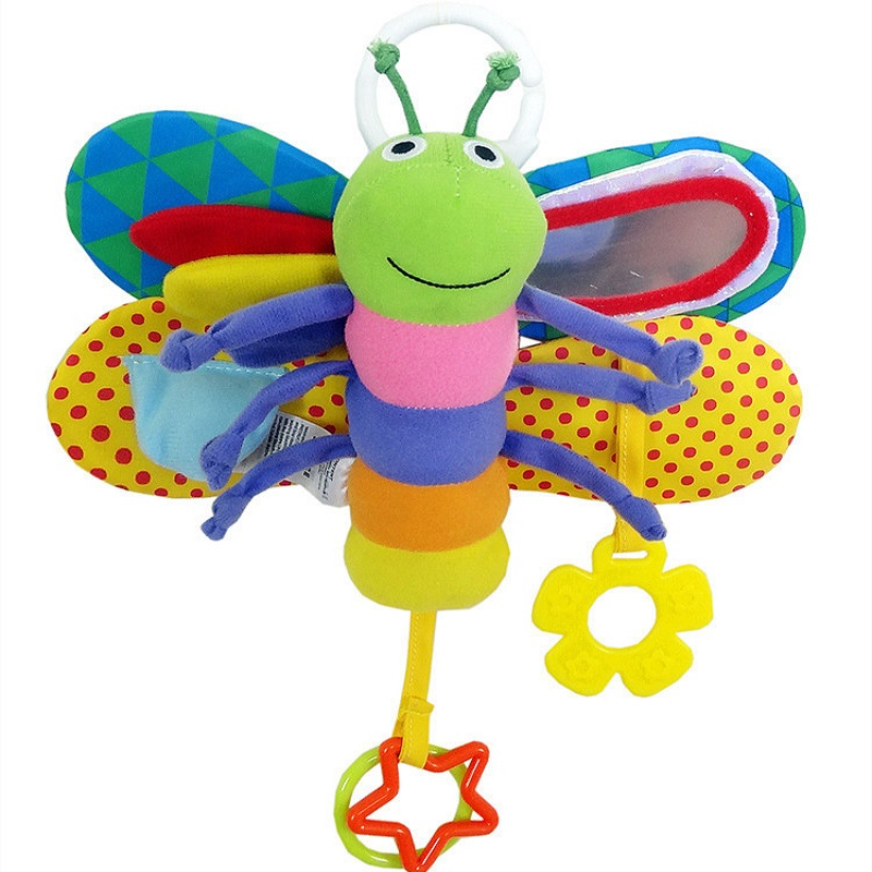 Soft Plush Butterfly Baby Hanging Crib Rattle Colorful Butterfly With BB Sound Paper 0-12 Months Penguins Mobile Lovely Toys