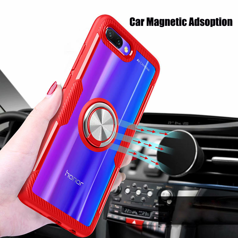 Finger Ring Kickstand Case for Huawei Honor 10 7X Play TPU Bumper Car Magnetic Acrylic Case PC Hard Cover for Honor 7X 10 Coque