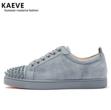 Kaeve 2018 Spring Men Grey Suede Shoes Rivet Flat Low Top Spike Sneakers Lace-up Men Runway Chaussures Hommes Plus Size39-47