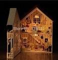 13805 Hongda DIY casa de bonecas de madeira casa de voz música luzes villa boneca nimiature presentes dos miúdos