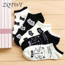 ZQTWT 5Pair/Lot Women Socks Cute Cats Socks Breathable Lovely Sock Casual Girl Striped Socks Ladies Funny Socks Hosiery 3WZ069