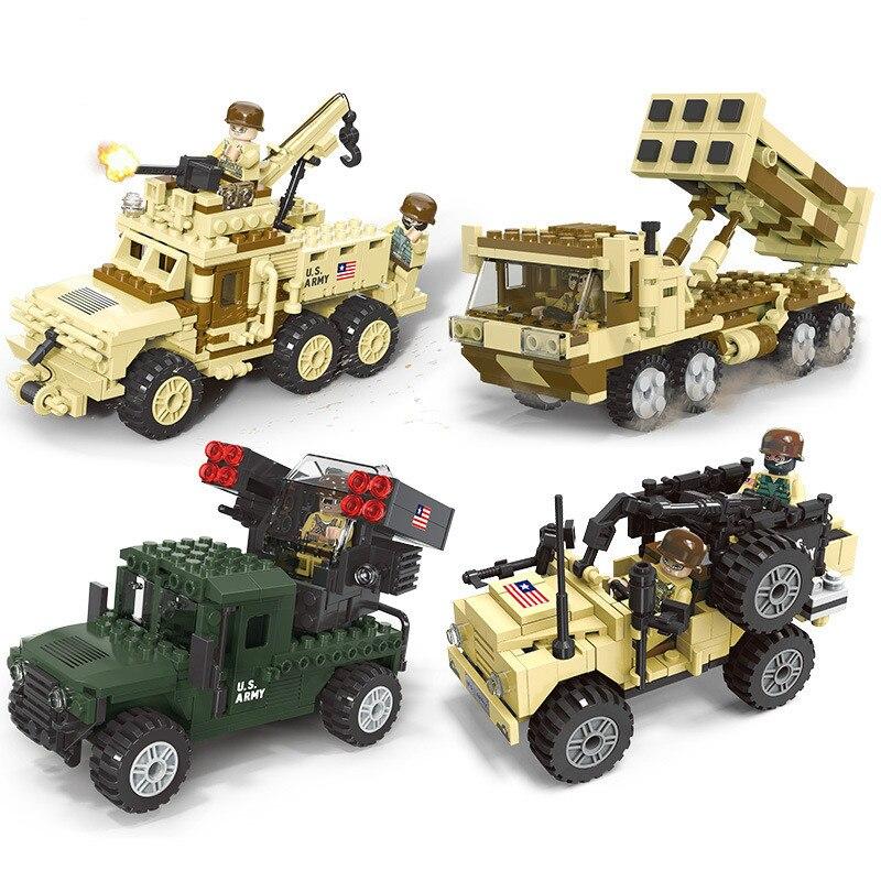 Monde militaire Forces armées bloc de voiture Construction voiture Construction modèle jouets camion pour cadeaux pour enfants