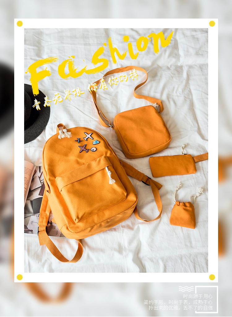 Menghuo 5 Pcsset Women Backpacks Cute Plane Badge School Bags For Teenage Girls Simple Canvas Backpacks Ladies Shoulder Bags (1)