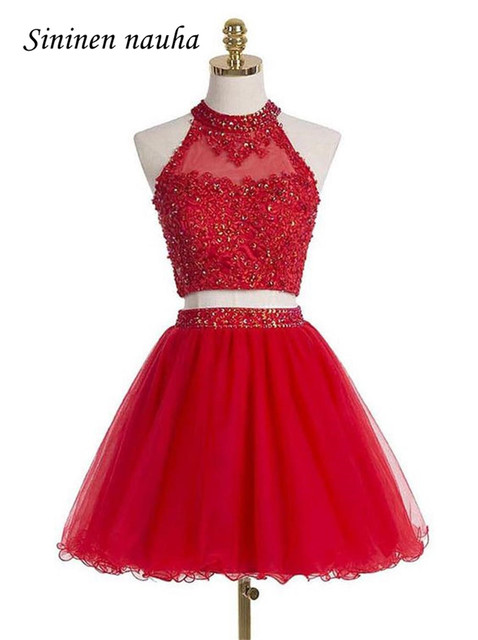 Short 2 Piece Prom Party Dresses High Neck Appliques Beaded A Line  Homecoming Cocktail Dress For cb7b77823a9d